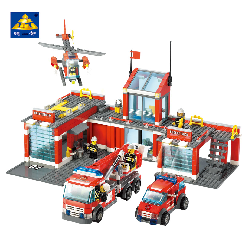 KAZI Fire Fighting Truck Vehicles Model Building Block Brinquedos Educational Blocks Toys Intelligence Brick for Kids 8058 8059 kazi military building blocks army brick block brinquedos toys for kids tanks helicopter aircraft vehicle tank truck car model