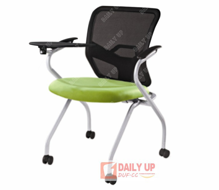 Mesh Cushion School Chair With Casters Office Staff Conference Tablet  Protable Fold Visitor Wheels Stack In