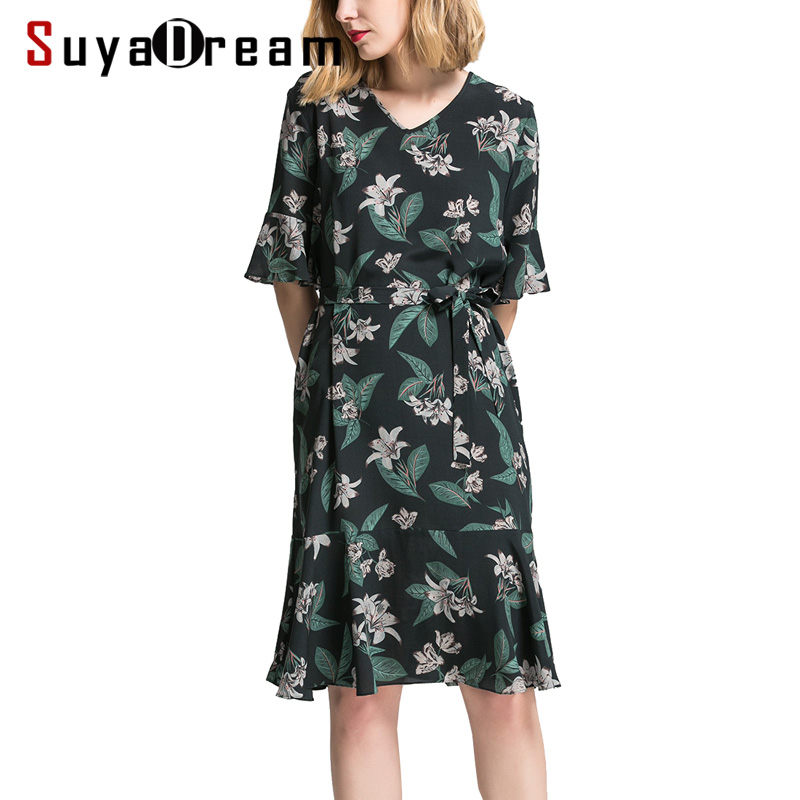 Women Silk dress Luxury 100 Natural silk Floral Printed Knee Length dress Butterfly sleeves Casual dresses