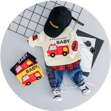 цены на 2019 Spring Baby Girls Boys Clothes Suits  Cartoon Car Children Kids T Shirt + Pants Casual Sets  Infant Toddler Clothing Set  в интернет-магазинах