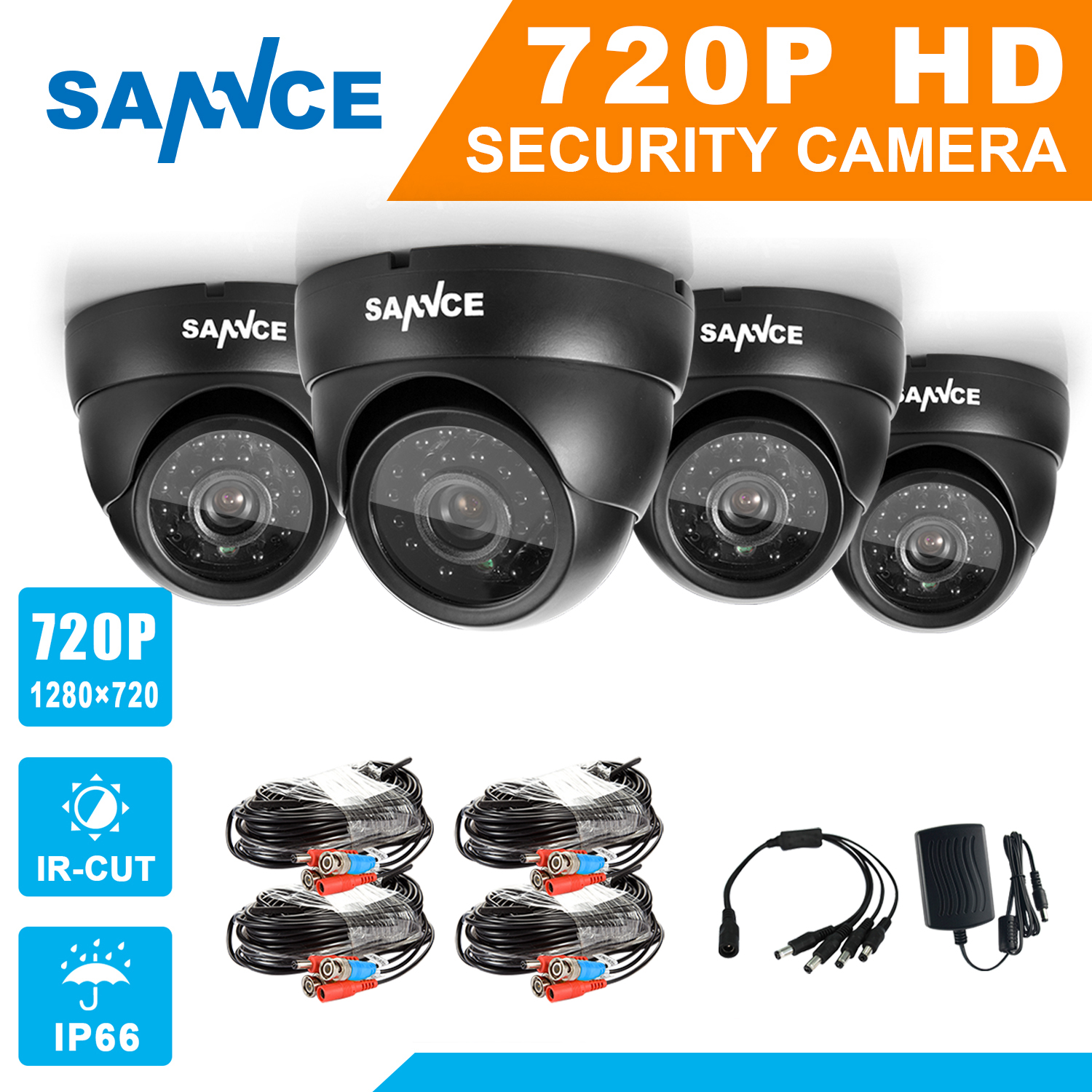 SANNCE AHD 720P 4PCS 1200TVL Dome CCTV Camera Suite 1.0MP Waterproof IR-Cut Night Vision Camera For Surveillance System Kit BC