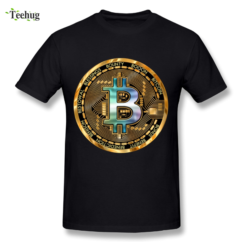 Leisure Men Bitcoin Crypto Big Graphic 3D Print T Shirt Round Collar Design Homme Tee Shirts