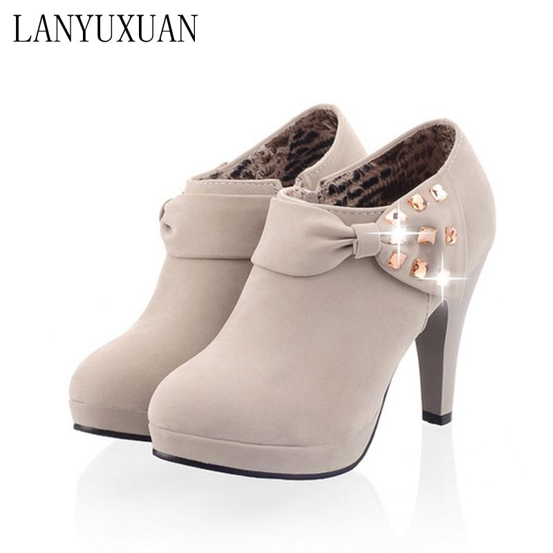 цена на LANYUXUAN 2017 Women Shoes Big Size Sale 34-43 Apricot New Women Pumps Platform High Heels Ladies Party Shoes C-8