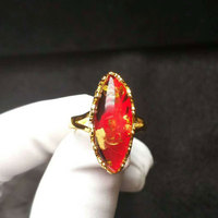 RADHORSE 925 Silver Rings for Women Fine Jewelry Heart Type Amber concise Modeling Sterling Silver Ring Adjustable Gold color