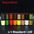 Real Sissi 8 carretes/juego ligeramente encerado 6/0 hilo de atado de mosca multi filamentos 120D hilo de atado de poliéster plano en bobinas estándar
