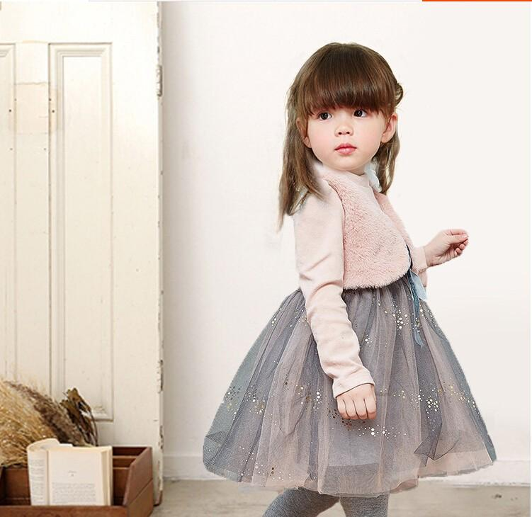 8544480c50c6 Girls children clothing winter dresses clothes child two more small ma3  jia3 net yarn splicing dress baby fashion princess dress-in Dresses from  Mother ...