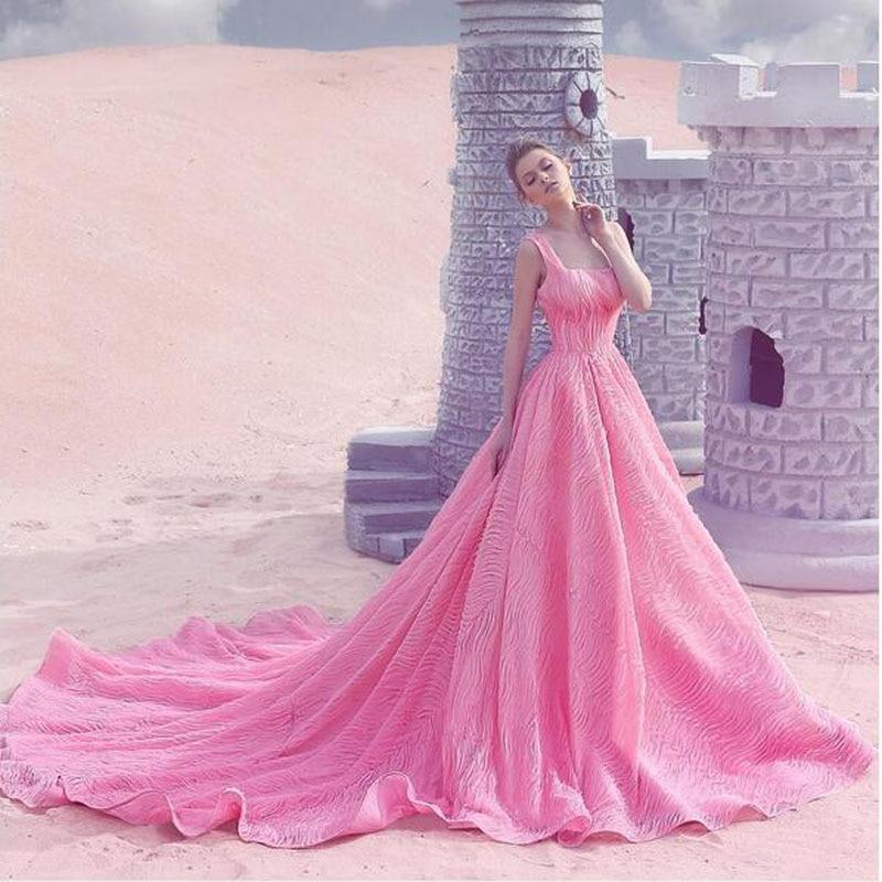Encanto vestidos noche largos barco rosado cuello tribunal tren ...