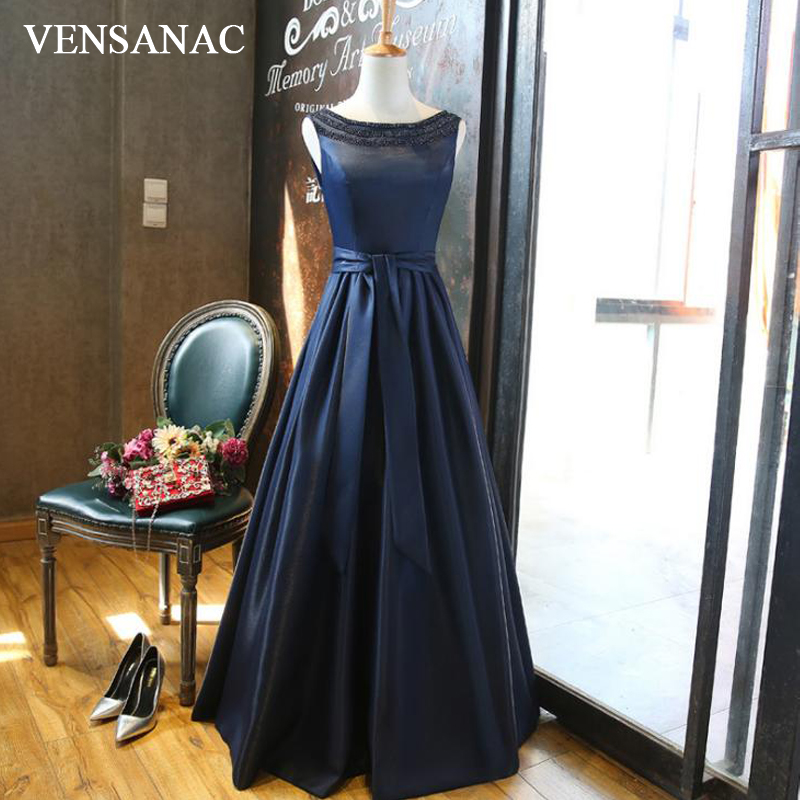 VENSANAC 2018 O Neck Bow Sash A Line Long   Evening     Dresses   Elegant Crystals Backless Tank Party Satin Prom Gowns