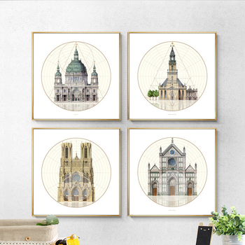 Magnificent Castle Church Circle Based Nordic Mural Painting Modern Canvas Building Art Drawing Wall Ornament for Bedroom Office circle