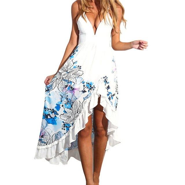 1PCS Dress Women 2018 Sexy Women Summer Boho Long Maxi Floral Beach Dress  Ladies Dress Beach Sundress Plus Size Jane 5 de088c16df66