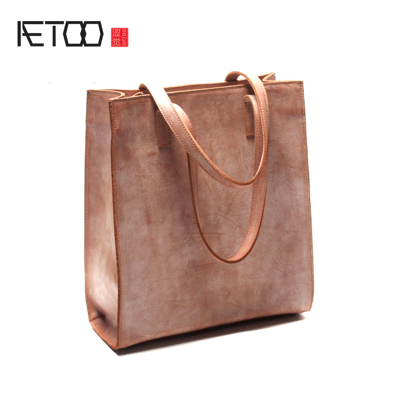 AETOO Simple design fog waxed kraft leather tote bag of leather handbag for the vintage leather hand shoulder bag aetoo the new oil wax cow leather bags real leather bag fashion in europe and america big capacity of the bag