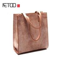 Aetoo простой дизайн туман парафинированной крафт кожаная сумка для Винтаж кожа рук сумка