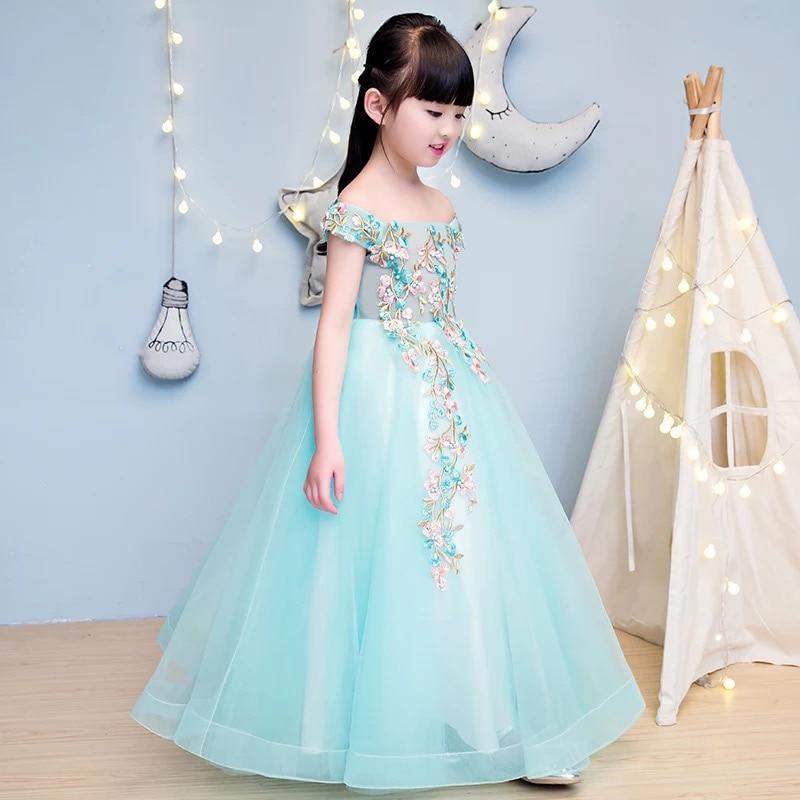2017 Summer Girls Flowers Dress Party Princess Ball Gown