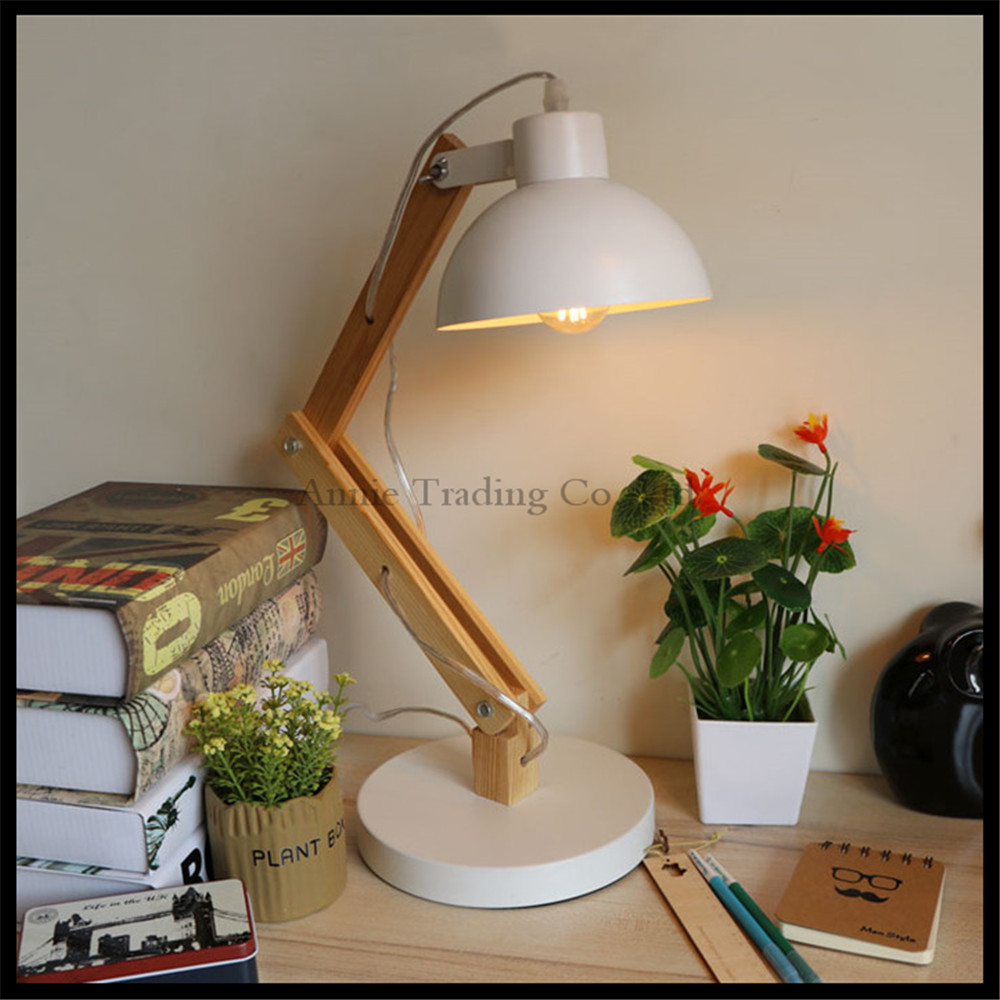 Table lamps for reading in bed - 2017 New Modern Design White Wood Desk Lighting Fexible E27 Bedroom Bed Side Desk Reading Lights