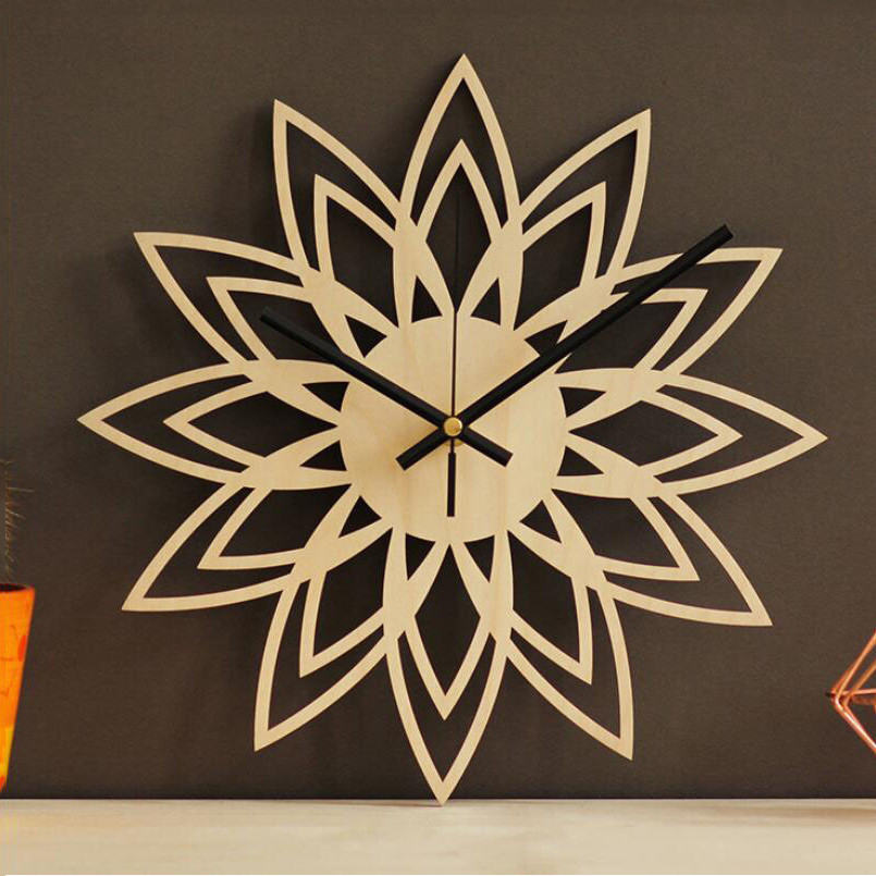 New 3D Wall Clock Simple Bamboo Wooden Flower Wall Clock 30cm Abstract Mute Movement Wall Watch  Home Decoration Free Shipping