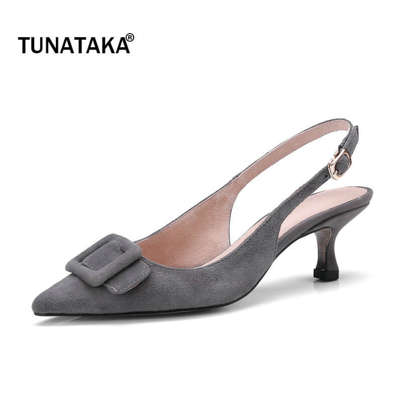 Suede Pointed Toe Comfort Thin Heel Woman Slingbacks Pumps Fashion Buckle Dress High Heel Shoes Woman Black Gray Brown