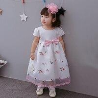 2017 estate floreale rosa baby girl dress principessa angelo fiori lungo Del Partito Vestido Poco Vestiti Della Ragazza per 1 e 2 T SKF154721