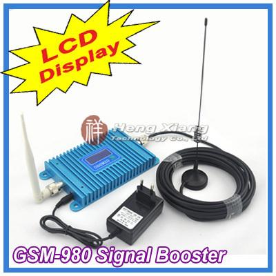 Pantalla lcd! GSM 900 Mhz del teléfono móvil GSM980 amplificador de señal, repetidor de la señal gsm, amplificador del teléfono celular con Cable + Antenna