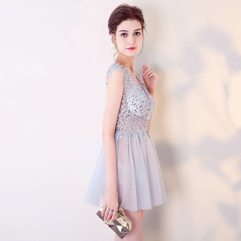 Brilliant Cocktail Dresses 2018 New Sexy Prom Gowns Short Deep V Neck Tulle  Crystal Beading Blckless Mini Cocktail Party Dress -in Cocktail Dresses  from ... 811625b52