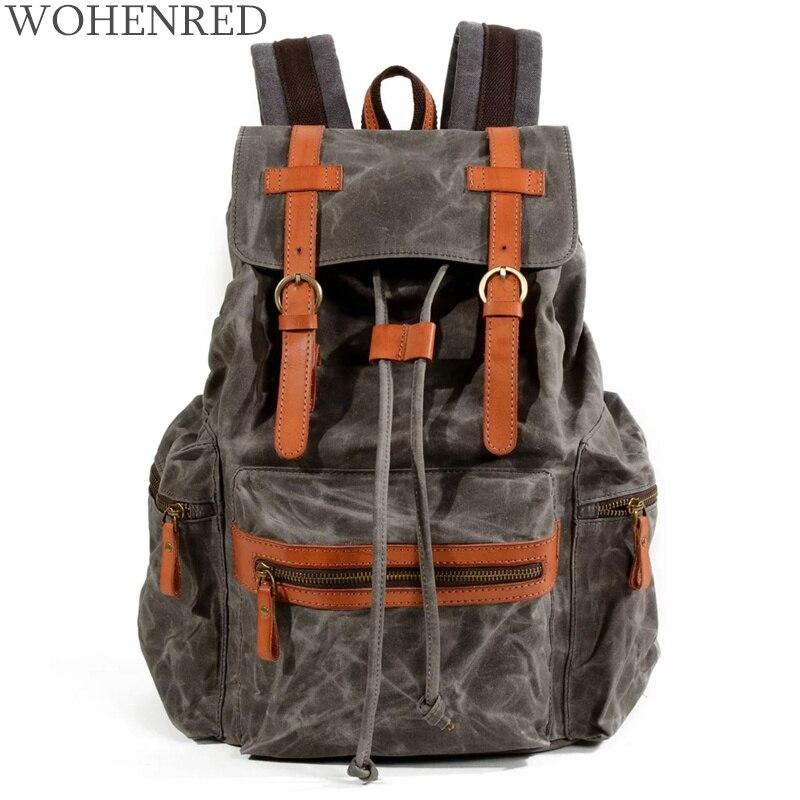 Sac à dos Vintage marque imperméable quotidien sac à dos pour hommes femmes sacs d'école moyenne 2018 nouveau sac à dos de voyage en cuir unisexe