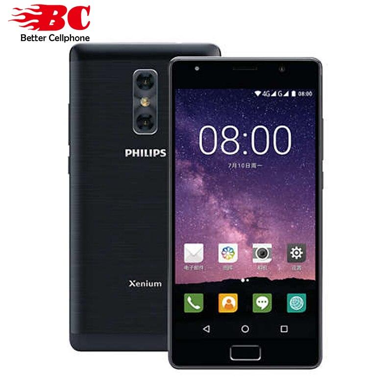 Philips d'origine X598 MTK Octa Core 1.5 ghz Android 7.0 5.5 pouce 4000 mah batterie 4 gb RAM 64 gb ROM double caméra D'empreintes Digitales téléphone