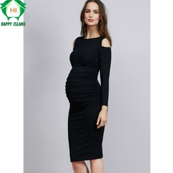 Elastic Maternity Clothes Fashion Pregnancy Clothes For Pregnant Women Knee-Length Maternity Dresses Plus Size Office Gowns