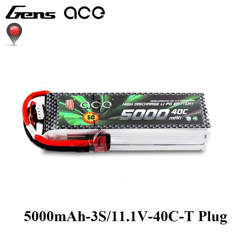 Gens ace 5000 mAh 3 S 11.1 V 40C-80C Lipo Batterie avec T Plug pour 1:10 Taille Modèles Ailes Fixes Quadaptor RC Passe-Temps accessoires
