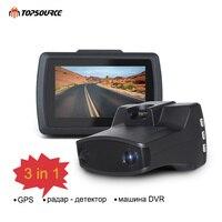 TOPSOURCE 2,7 видео регистраторы Автомобильный dvr камера Ambarella 3 в 1 антирадары gps LDWS HD 1296 p 170 градусов регистраторы Регистратор