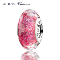 ATHENAIE Genuine Murano Glass 925 Silver Core Pink Fascinating Iridescence Charms Bead Fit European Bracelet Gift