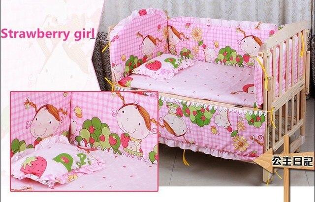 Promotion! 10PCS Baby Crib Cotton Bedding Set Quilt Bumper Sheet baby crib bedding set (bumper+matress+pillow+duvet)