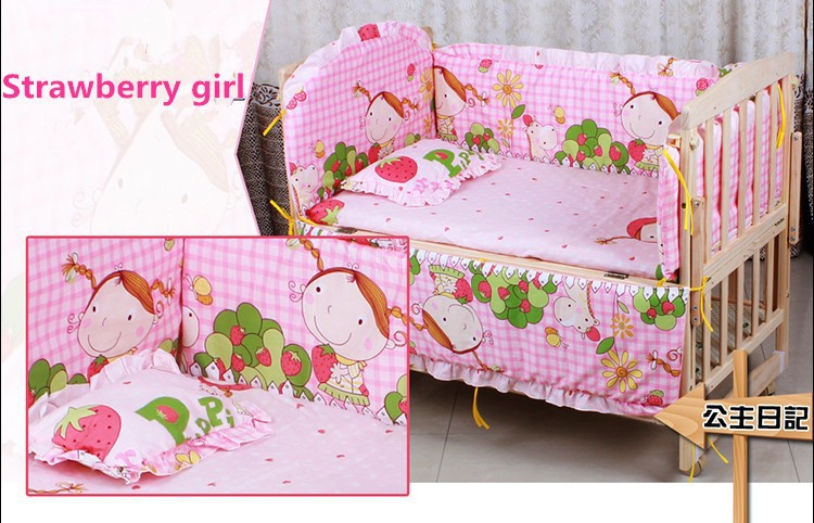 Фото Promotion! 6PCS Baby Crib Cotton Bedding Set Quilt Bumper Sheet baby crib bedding set (3bumper+matress+pillow+duvet). Купить в РФ