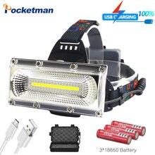 6000лм COB светодиодный налобный фонарь USB Перезаряжаемый Головной фонарь ультра яркий Фонарь налобный фонарь Водонепроницаемый охотничий прожектор SOS