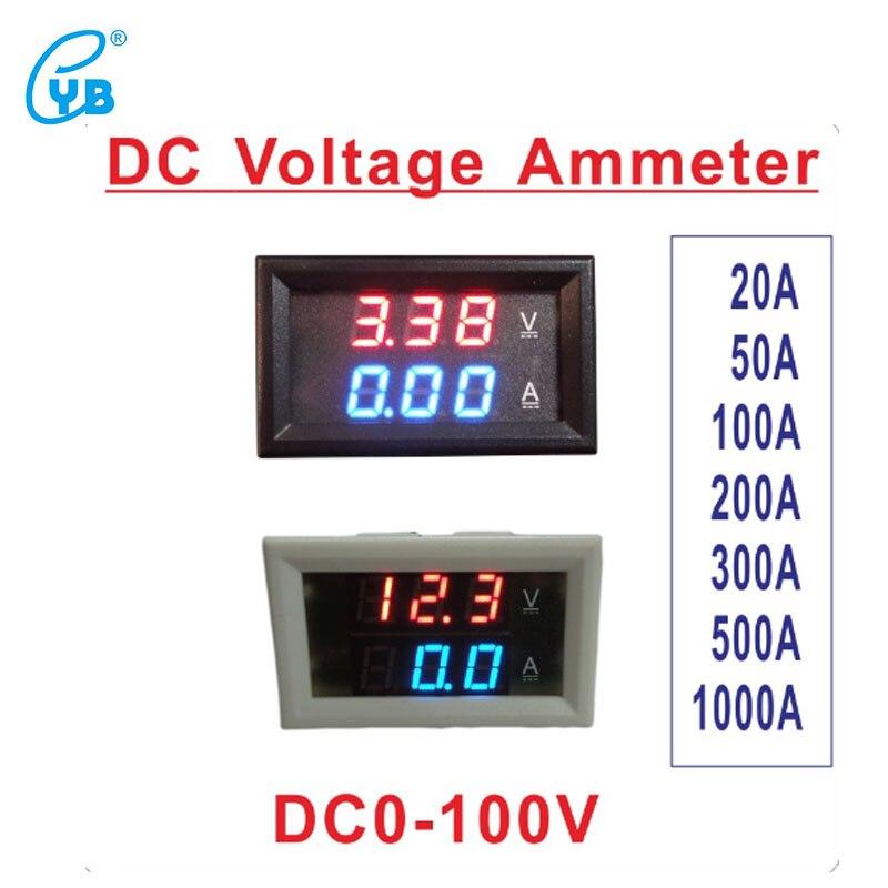 YB27VA DC0-100V Voltmètre Ampèremètre LED Affichage DC20A 50A 100A 200A 300A 500A 1000A Numérique LED Compteur De Courant de Tension Noir Blanc