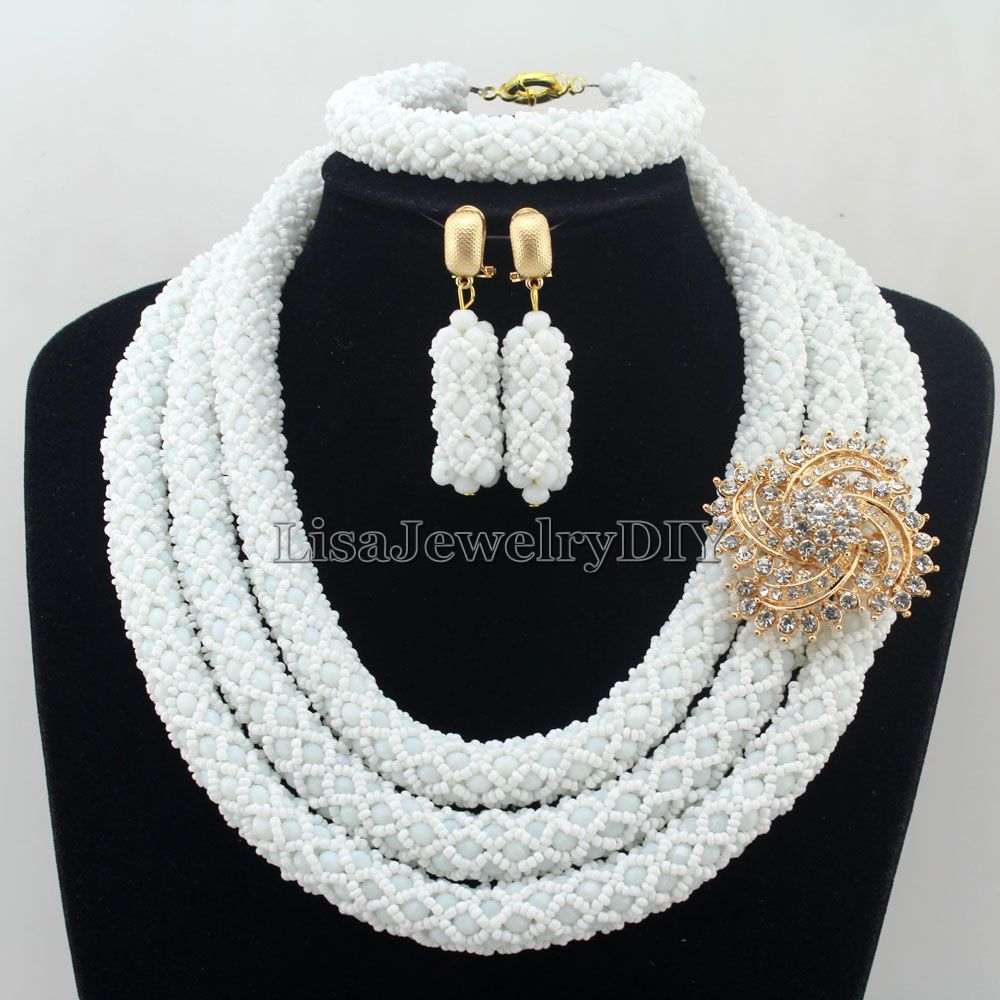 African Statement Necklace Costume Necklace Set Crystal Jewelry Womens Jewellery Set Nigerian Wedding Beads Jewelry Set HD7252