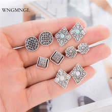 WNGMNGL 5 Pairs/Set 2018 New Bohemian Carved Vintage Blue Resin Antique Silver Color Charm Geometric Stud Earrings Set For Women