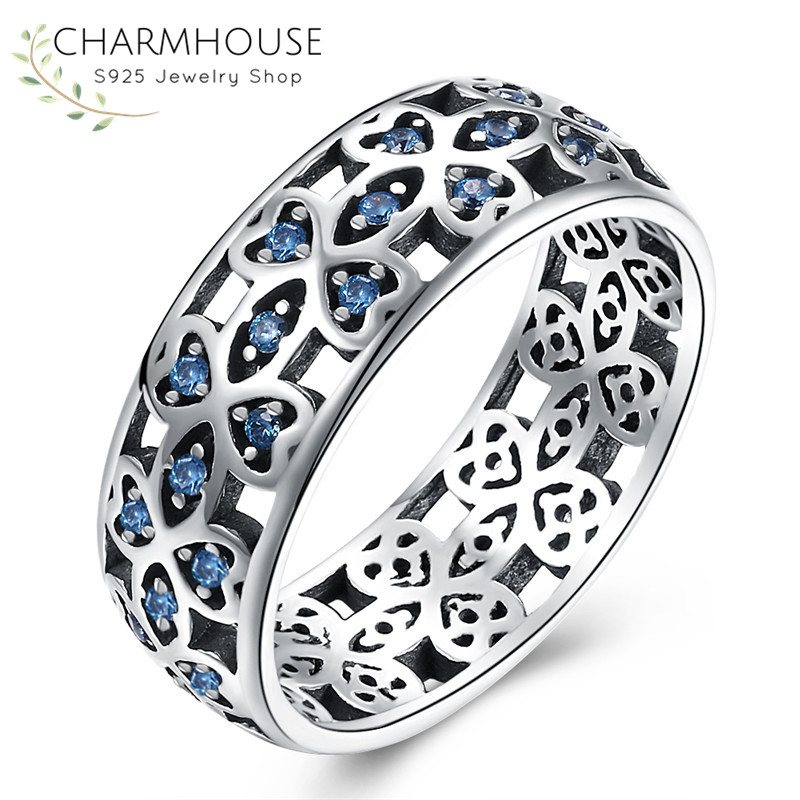 Vintage Sterling Silver 925 Rings for Women Man Antique Silver Jewelry Blue Stone Ring Fashion Statement Jewelry Bague Bijoux
