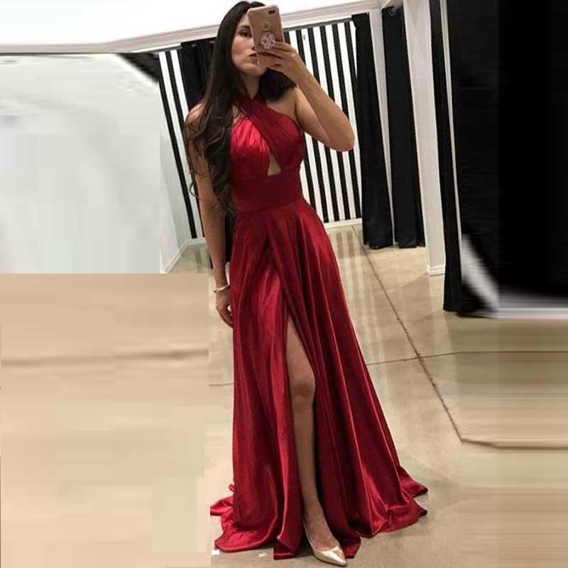 Sexy Robe De Soiree Evening Dress Halter Vestidos Satin A Line Side Split Party Gown Evening Gowns Vestido Para Festa Longo