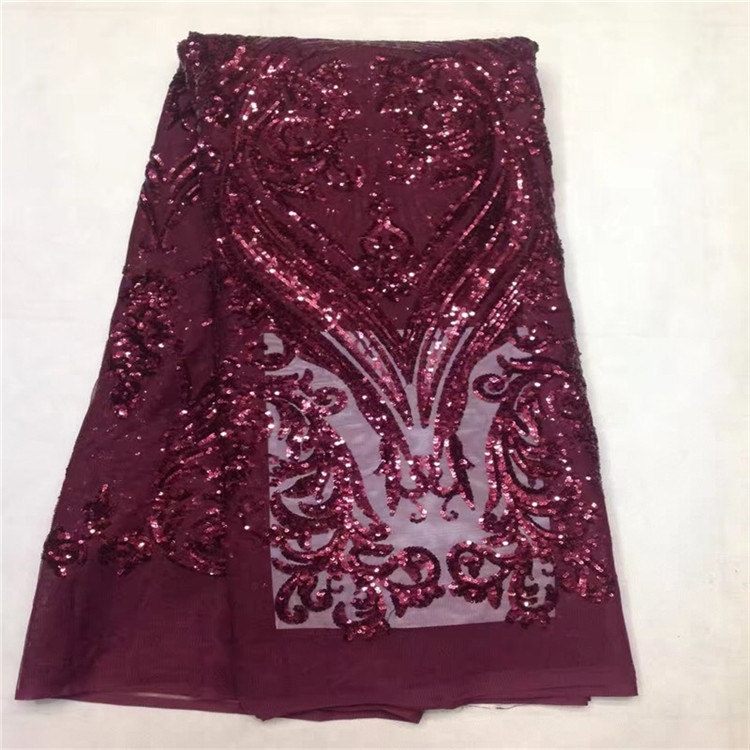 Free Shipping High Quality Nigerian Lace Fabrics 2017 With Sequins African French Net Lace Fabric Embroidered