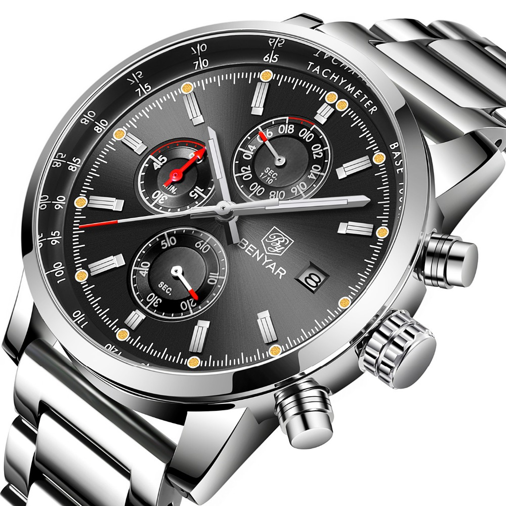 e7f3679dcd7e Comprar BENYAR de cronógrafo relojes deportivos para hombre marca de lujo de  militar de acero inoxidable correa de reloj de cuarzo reloj Masculino  Online ...