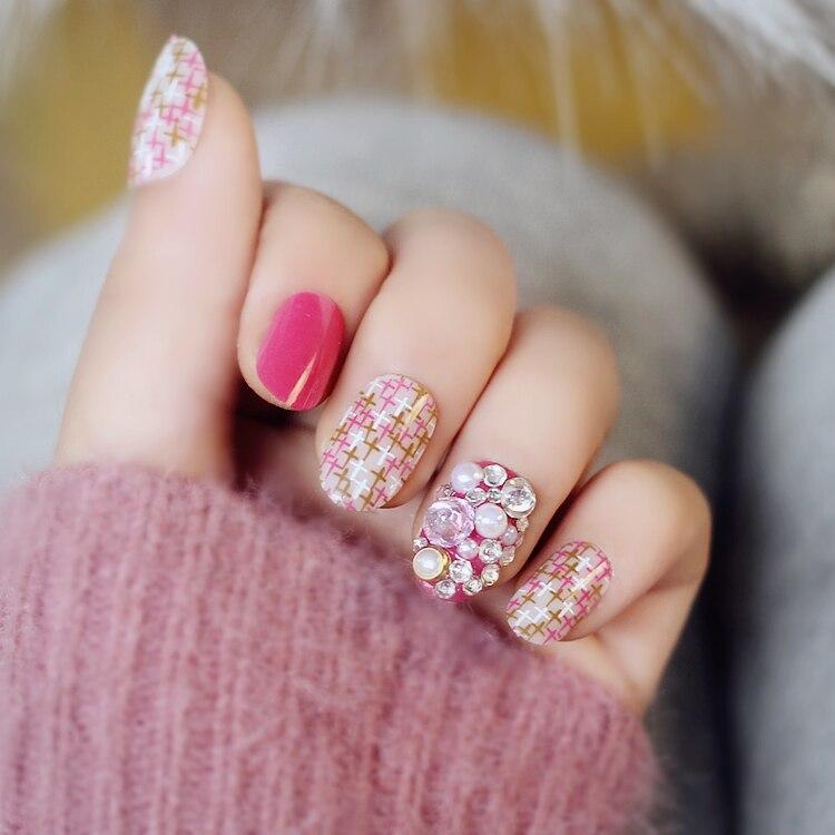 Japonais crème rose pure color Gel UV faux ongles 3D faux