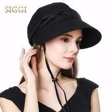 FANCET Women Sun Hats Solid Linen Cotton Windproof Chin Cord Strap Soft Brim Elastic Sun Caps Streetwear Gorros Chapeau 99048