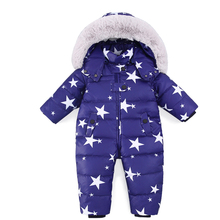 цена Russian Winter Baby Snowsuit Boy Girl  Jumpsuit Kids 90% Duck Down Rompers Jacket for Girls Boys Coats Winter Park Infant Overal