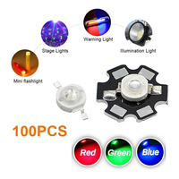 100pcs Red Blue Green LED COB Chip 3W Bulb Diodes With Star PCB High Power DIY Light Beads SMD watts