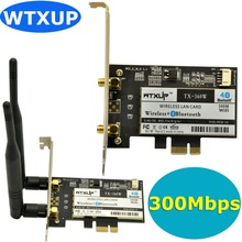 WTXUP AR5B22 Dual Band 300Mbps Wireless PCI-E WiFi Adapter with Bluetooth 4.0 BT for Atheros AR5B22 PCI Express Desktop Adapter