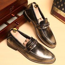 men's casual shoes Personality British spring and summer leather business shoes stylist nightclub pointed leather sewing thread