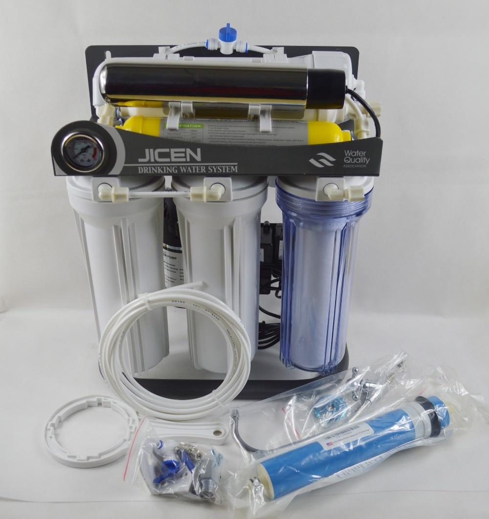 75GPD Sistema de ósmosis inversa de bajo nivel 7 Etapa con soporte / - Electrodomésticos