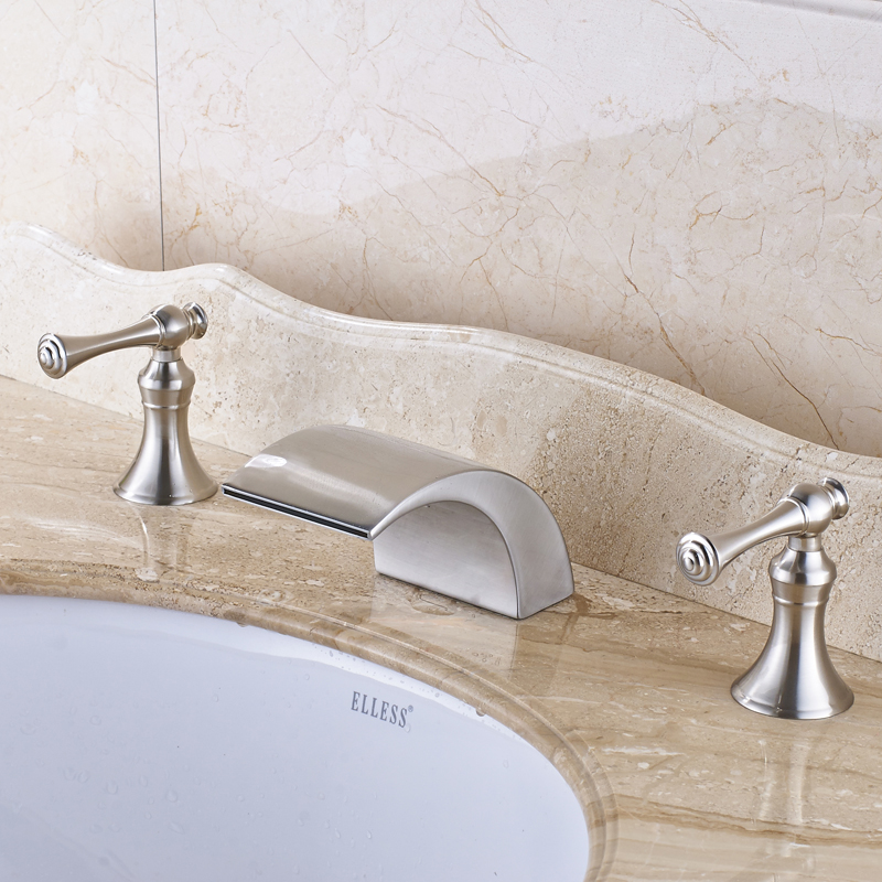 Nickel Brushed Solid Brass Bathroom Sink Faucet Waterfall Spout Basin Mixer Tap Deck Mounted new arrive dual square handles waterfall spout bathroom sink basin faucet brushed nickel deck mount