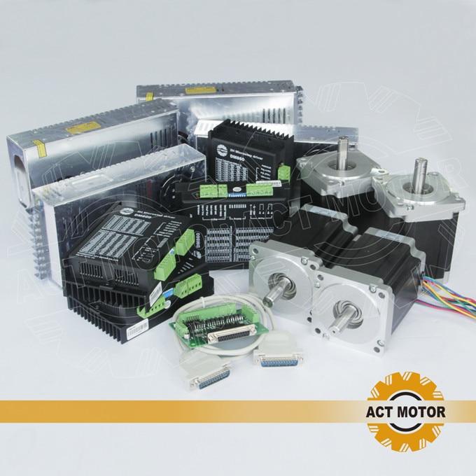 ACT 4Axis Nema34 Stepper Motor 34HS1456 4 Lead 1232oz 116mm 5 6A 4PCS Driver DM860 80V