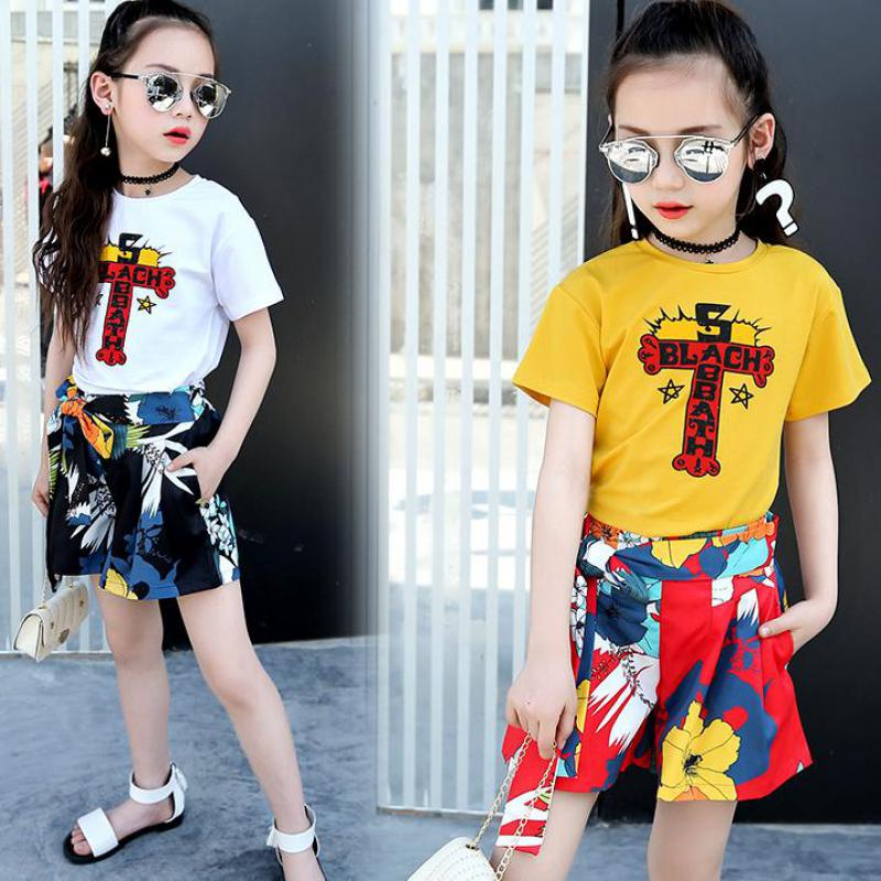 Toddler Girls Clothes Set Summer 2018 New Children Clothing Suit Baby Girls Outfits Hip Hop Print Punk T-shirts + Shorts Costume 2017 new pattern small children s garment baby twinset summer motion leisure time digital vest shorts basketball suit