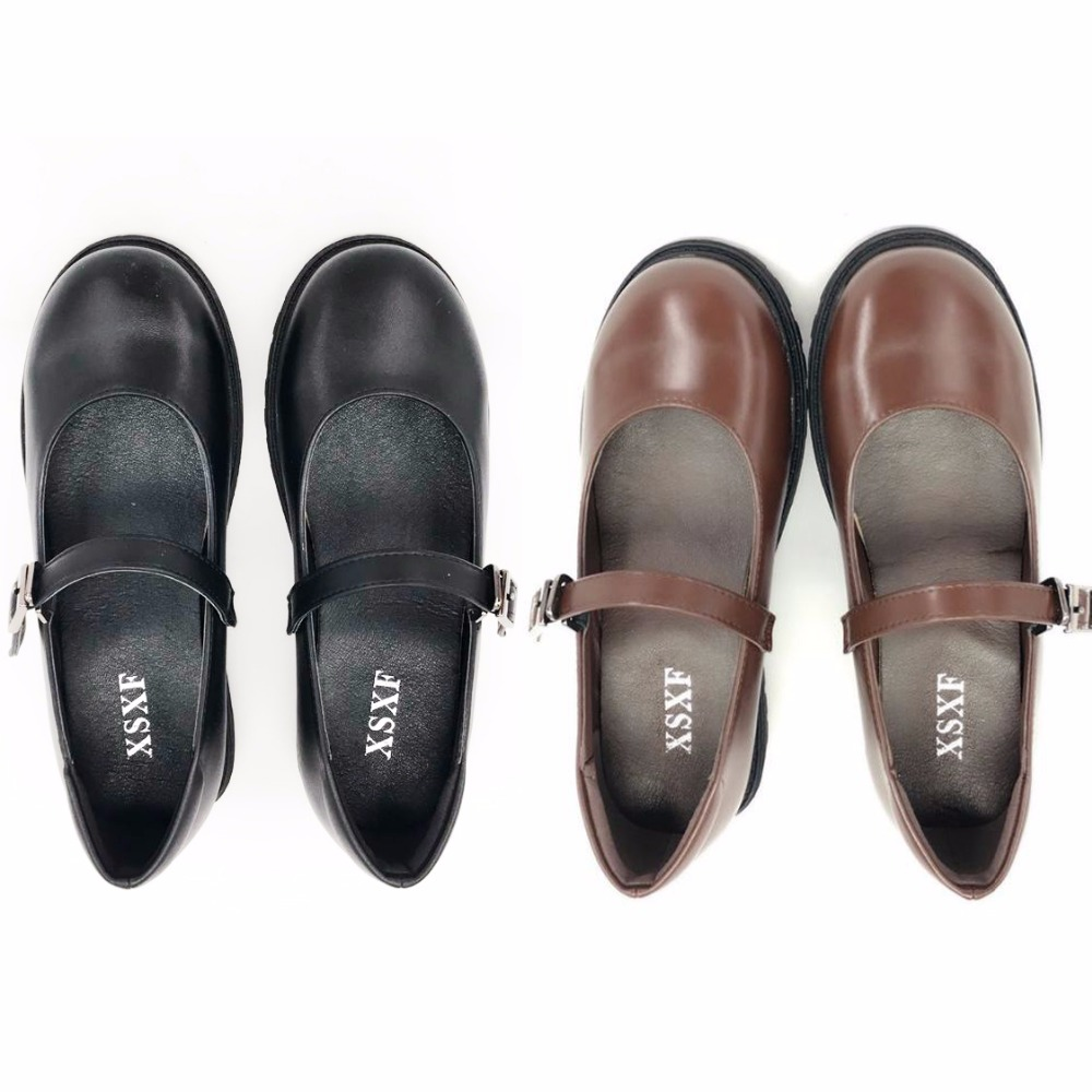 Japanese School Students Uniform Shoes Uwabaki JK Round Toe Buckle Trap Women Girls Lolita Black Brown Cosplay Med Heels C03